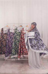 Mukena Batik Print Bahan Rayon Santung Rempel